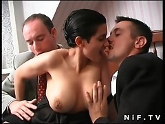 French brunette slut gets double teamed