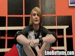 Emo twink Preston Andrews gets naked and jerks off