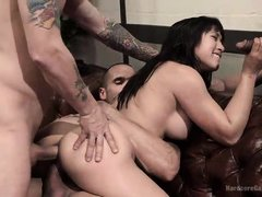 asian brunette slut gets fucked by gang